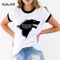 New women's t-shirt Game of Thrones Shirt Winter is coming stark wolf funny casual t shirt womens summer tshirt women clothing 1