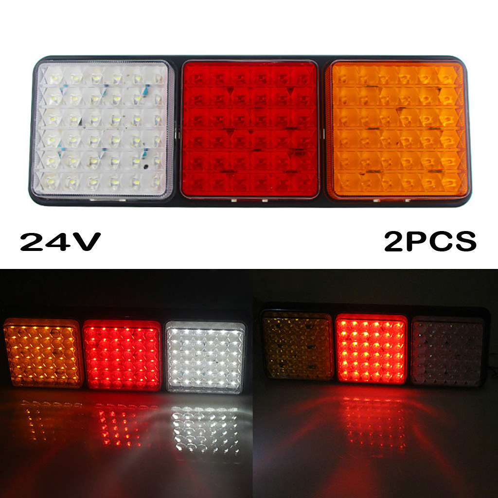 Rectangular Tail Light 2X 24V 108 LED Tail Light Truck Trailer Rear Indicator Stop Reverse Signal Lamp For Campers Buses Vans-in Signal Lamp from Automobiles & Motorcycles