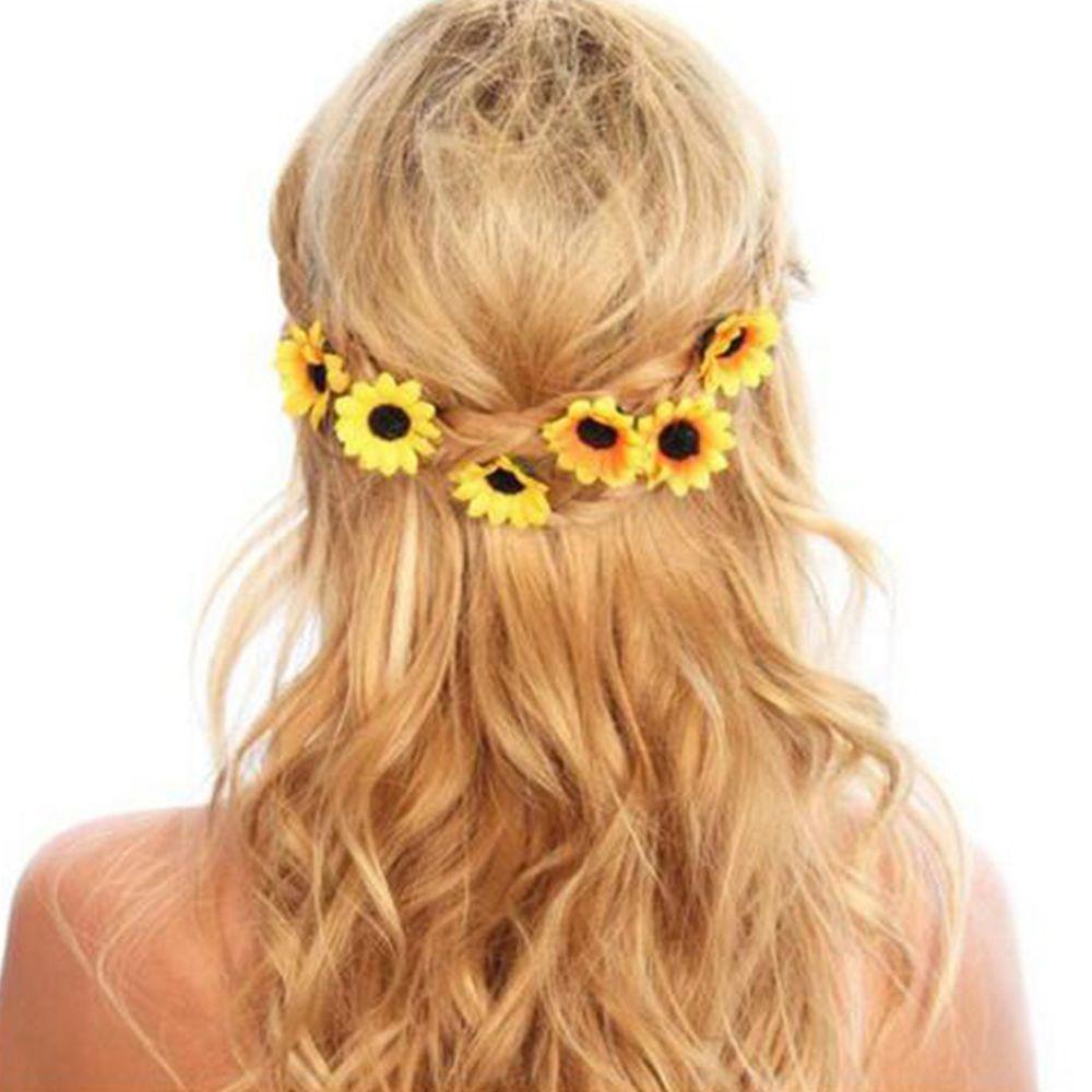 5 Pcs Hot Sale Wedding Bridal Prom Yellow Sunflower Party Bridal Hair Pins Clips Bridesmaid Flower Headband