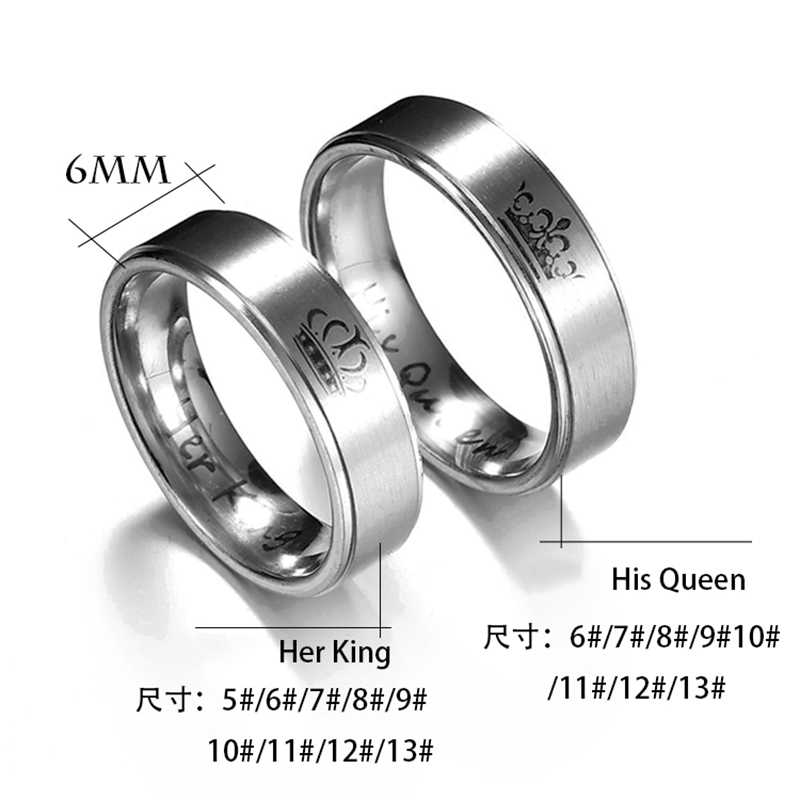 ELSEMODE, 1 Uds., 2018, nueva moda, DIY, joyería para parejas, Her King and His Queen, anillos de boda de acero inoxidable, joyería para hombres y mujeres