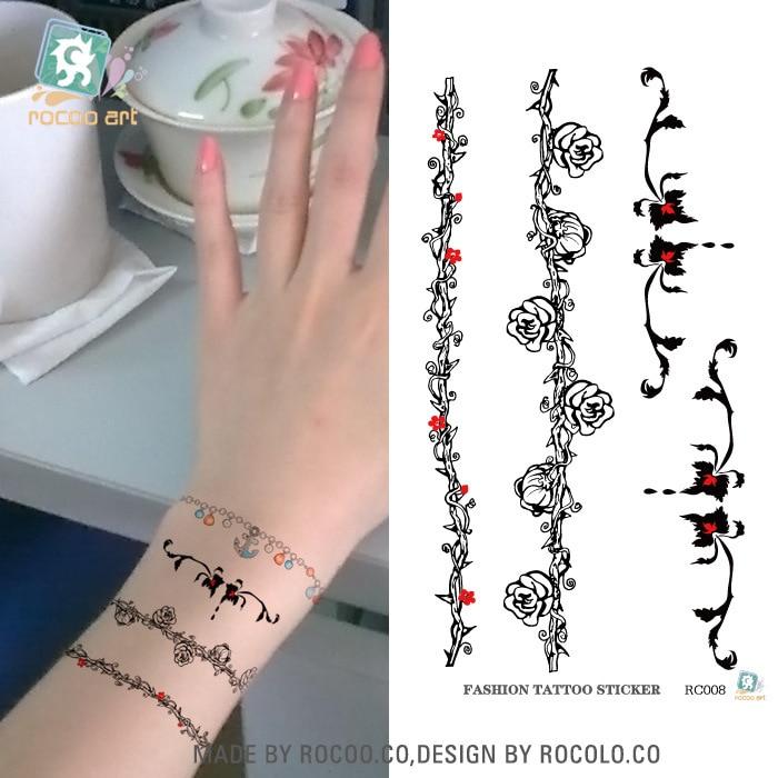 5 Pcs Female Models Waterproof Wrist Tattoo Stickers Rattan Flower