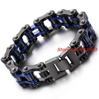 Fashion Charm Mens Bracelets Men Jewelry Black Blue Stainless Steel Motorcycle Bicycle Chain Link Mens Bracelets Band 8.6*16mm