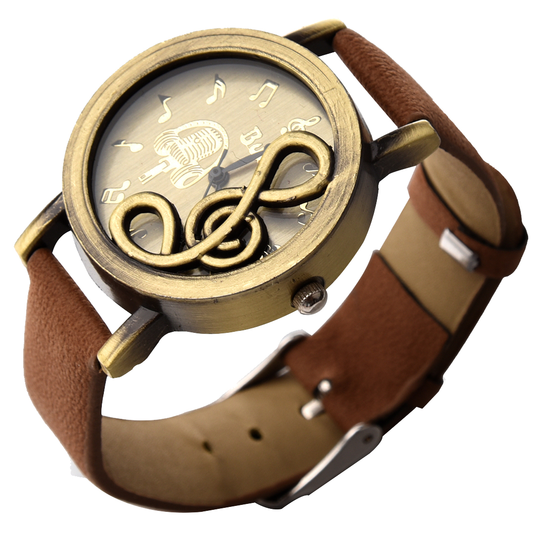 YCYS-New Retro Musical Note Dial Quartz Movement Watch with PU Leather Wrist Watch Coffee woman s retro flower dial analog quartz wrist watch w pu leather band yellow brass 1 x 377