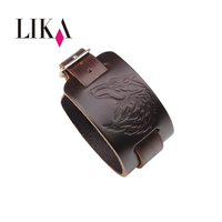 LIKA Newest Men Genuine Leather Bracelet Fashion Wide Bangle Adjustable Buckle Wristband Jewelry Cool Black Brown