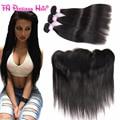 Imi cabelo brasileiro reta cabelo virgem com fecho de orelha a orelha lace frontal encerramento com bundles 3 pacotes com frontal 13x4