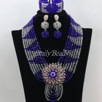 Handmade Grey Gray Crystal Women Necklaces Costume Jewellry Set Royal Blue Nigerian Wedding African Beads Jewelry Set AMJ637