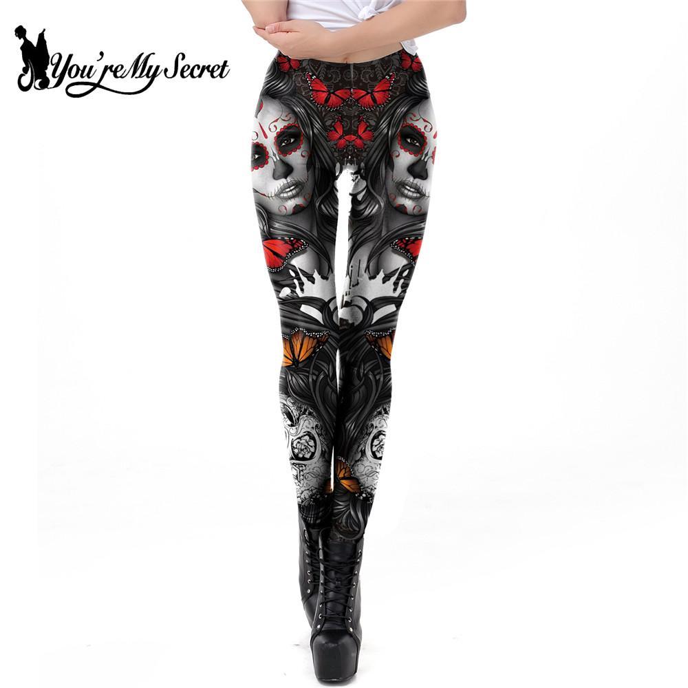 [You're My Secret] New Arrival 3D Print Leggings For Women Halloween Skull Legging Rose Girl Pattern Workout Leggins For Fitness