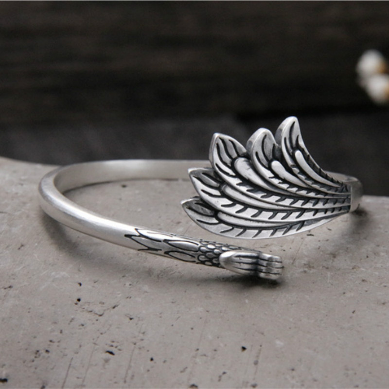 NEW Trendy Lady Jewelry 925 Sterling Silver Phoenix Peacock Design Opening Bangle Bracelet For Gifts Adjustable BanglesNEW Trendy Lady Jewelry 925 Sterling Silver Phoenix Peacock Design Opening Bangle Bracelet For Gifts Adjustable Bangles