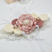 Vintage Inspired Sash Matching Lace Headband Bridal Unique Ivory Belt Maternity Flower Sash