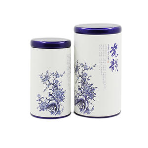 Xin Jia Yi Packaging Round Paper Boxes For Green Loose Tea Coffee Sugar White Cardboard with Metal Lid Cans