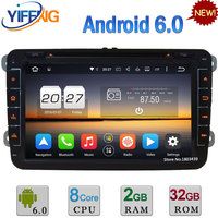 8 Octa Core 2GB 32GB Android 6 2DIN Car DVD Radio Player For Volkswagen Touran Tiguan