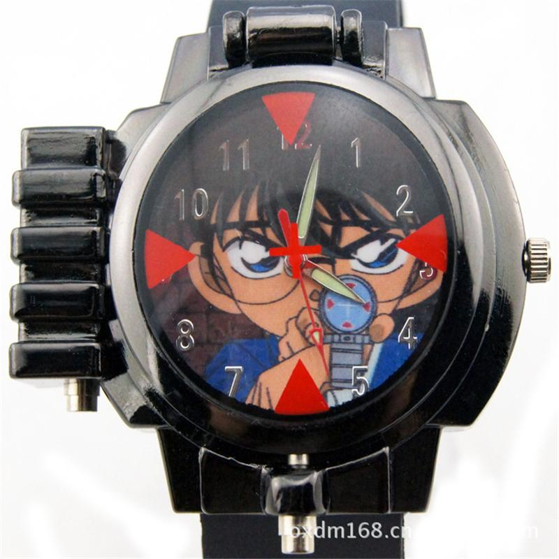 Fashion Cartoon Characters wristwatch Children Detective Conan Infrared Glass Red Light Laser zoom Analog
