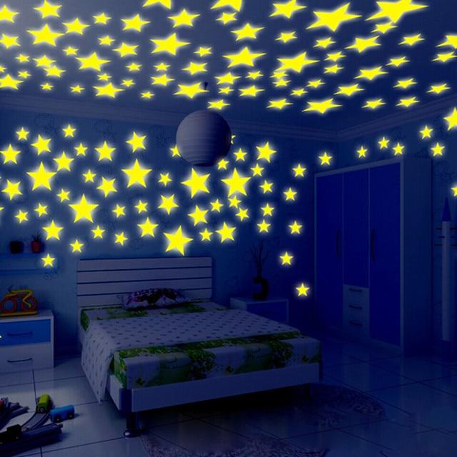 Gentil 100PC Kids Bedroom Stars Wall Stickers Beautiful Fluorescent Glow In The  Dark Romantic Home Wall Window