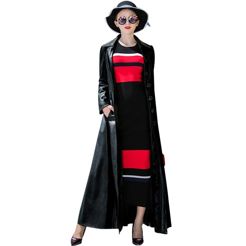 2018 Trench Coat PU   Leather   Autumn Winter Black Coat Women Designer Turndown Collar Black Long Coat Overcoat 6380