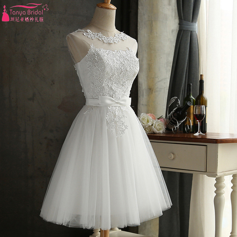 White Lace   Bridesmaid     Dresses   Knee Length African Hot Cheap Maid Of honor Gowns In Stock ZB013