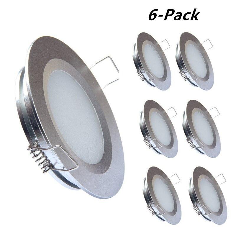 RV лодка встраиваемые потолочный светильник 6-Pack topoch Super Slim Панель свет DC12V 3 Вт 300lm полный Алюминий серебро /белый/Никель