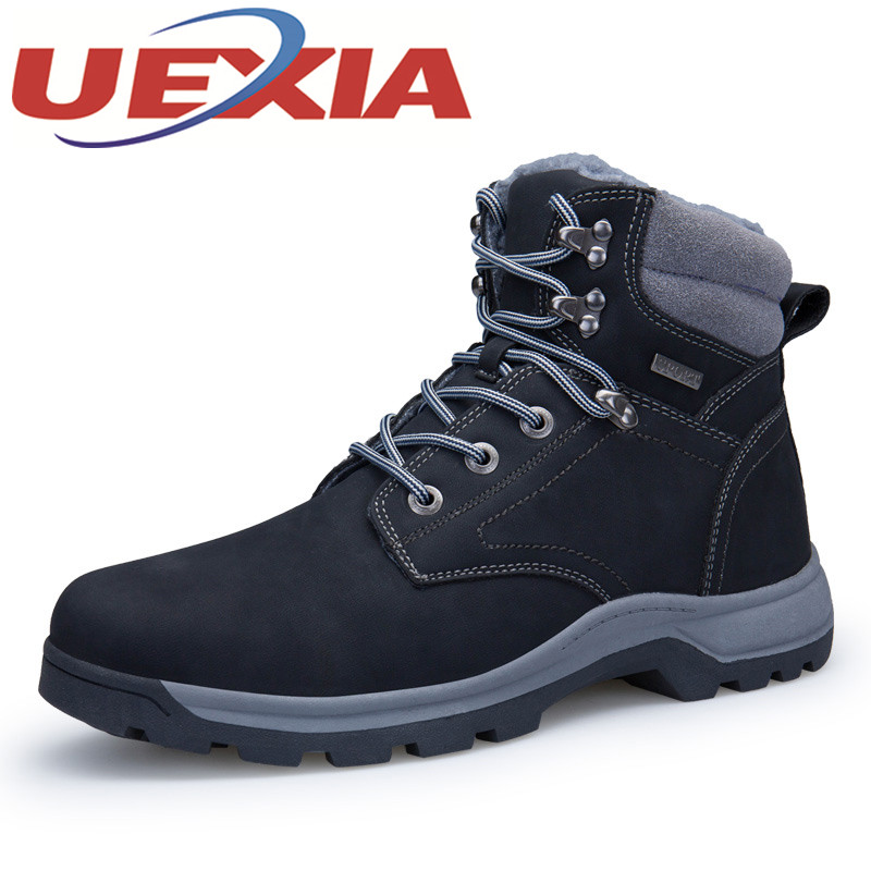 Big Size 40-46 Outdoor High Top Hiking Shoes For Men Winter Plush Warm Sneakers Mountain Shoes Athletics Cotton Climbing Boots big size 46 men s winter sneakers plush ankle boots outdoor high top cotton boots hiking shoes men non slip work mountain shoes