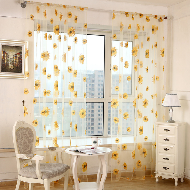 2017 Sunflower Curtains Tulle Window Curtain For Living Room Bedroom Kitchen  Curtains Printed Sheer Voile Curtains