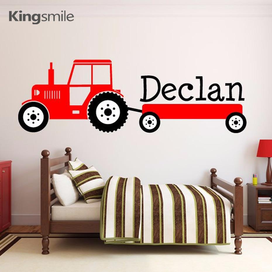 Modern Tractor Wall Sticker Custom Name Monogram Cartoon