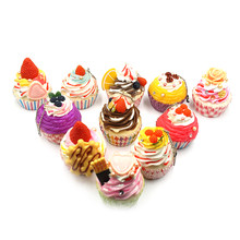 Cute Miniature Fake Cake DIY Cupcake Soft Squishy Decoration Food Fruit Bread Bread Keychain Charm Strap Random(China)