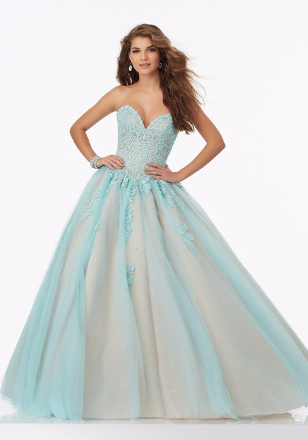 White Aqua Nude Two Toned Ball Gown Prom Dresses 2017 Sweetheart ...