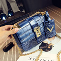 Women Messenger Bags 2017 New Summer Style Alligator Women's Shoulder Bag Vintage Crossbody Women Leather Handbag Chains Bag