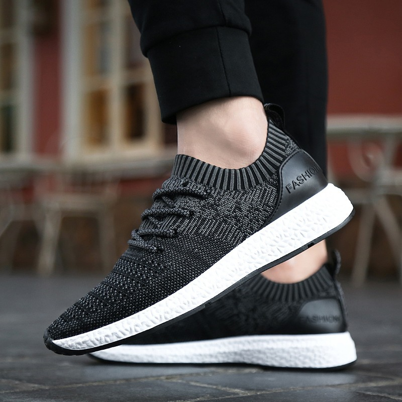 2018 new mesh fly weaving mens shoes fashion light breathable shoes fashion student shoes Zapatos casuales para hombres