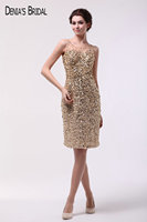 Real Photos Champagne Sheer Scoop Neckline Sleeveless Cocktail Dresses Beaded Straight Short Prom Gowns