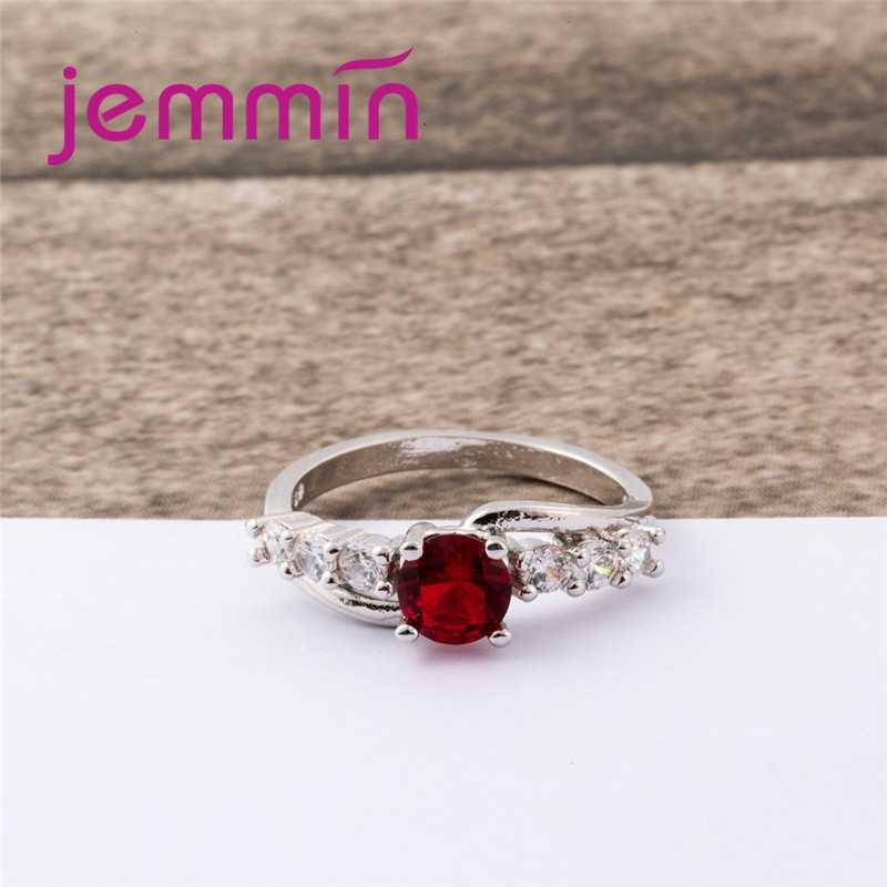 ใจกว้างใหม่รอบตัดขนาดใหญ่สีแดงและสีขาว CZ 925 แหวนเงินที่สมบูรณ์แบบ Gorgeous ที่ซับซ้อน 'เครื่องประดับขายส่ง