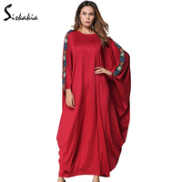 Siskakia muslim abaya women solid Appliques Bat sleeve loose Robes plus size Maxi Long dress Autumn 2017 Casual Dresses Female