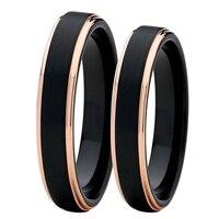 1 Pair 4mm 6mm Men S Women S Tungsten Couple Rings Set 18K Rose Gold Edge