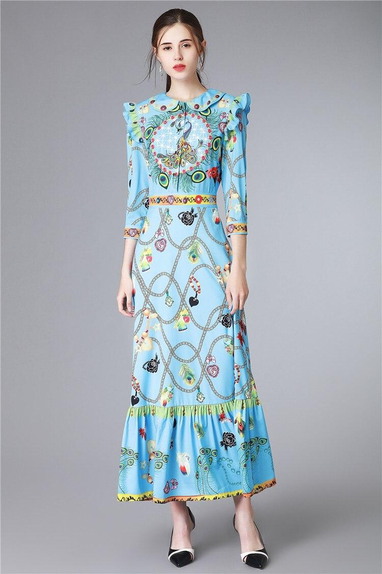 Truevoker Spring Europe Designer Maxi Dress Women s High Quality Half Sleeve  Blue Abstract Printed Ruffle Ankle Length Dress fff9f5fcd983