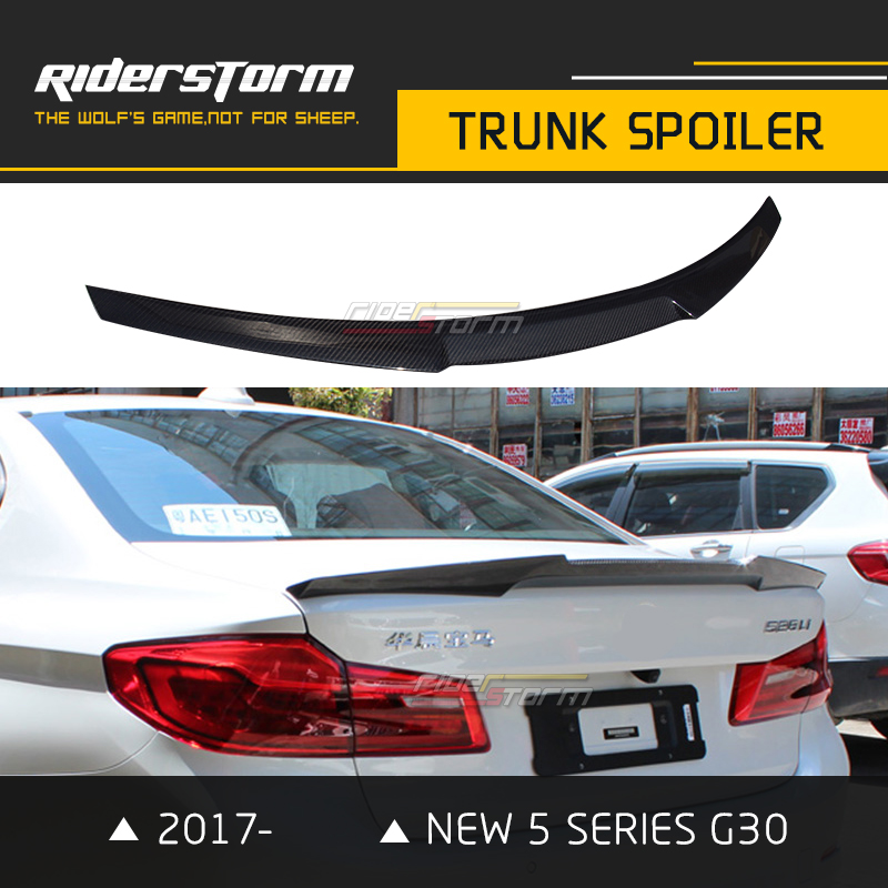 New 5 Series M4 Style Carbon Fiber G30 Rear Spoiler Trunk Wing Bootlid Lip for BMW 530i 540i 2017 Car Styling Product m4 style e93 carbon fiber rear wing spoiler for bmw e93 convertible 3 series 2005 2011 racing car styling tail trunk lip wing