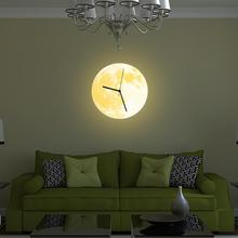 Wall Clocks Home Decor – Glowing Moon Wall Clock 3D DIY Needle Luminous Hanging Clock Livingroom Bedroom Decor