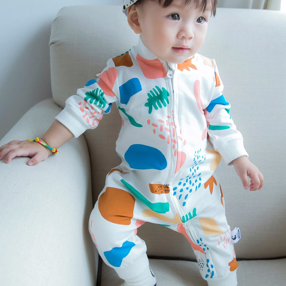 0-24M Newborn Baby Boy Rompers Spring Autumn Cotton Cartoon Color graffiti  Rompers  Long Sleeves Cotton Baby Girls Clothing warm thicken baby rompers long sleeve organic cotton autumn