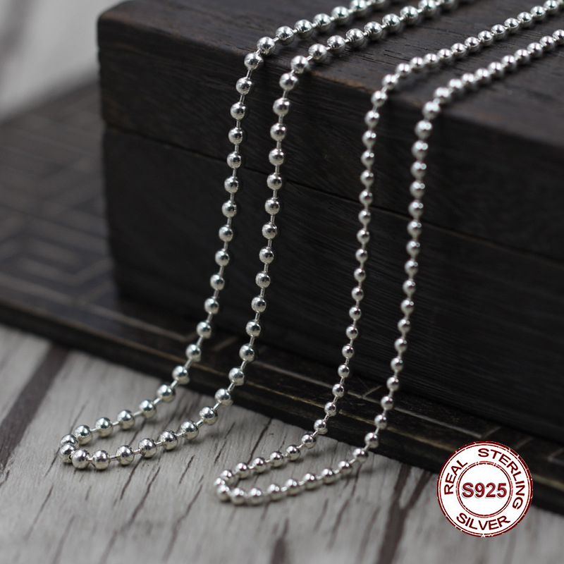 S925 Sterling Silver Necklace Personality simple wild ball necklace Classic couple style sweater chain Send a gift to love