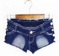 Novo 2016 verão mulheres Sexy rebites quentes Mini Shorts senhoras cintura baixa borboleta praia Shorts Jeans magro ocasional de Fitness curta femme