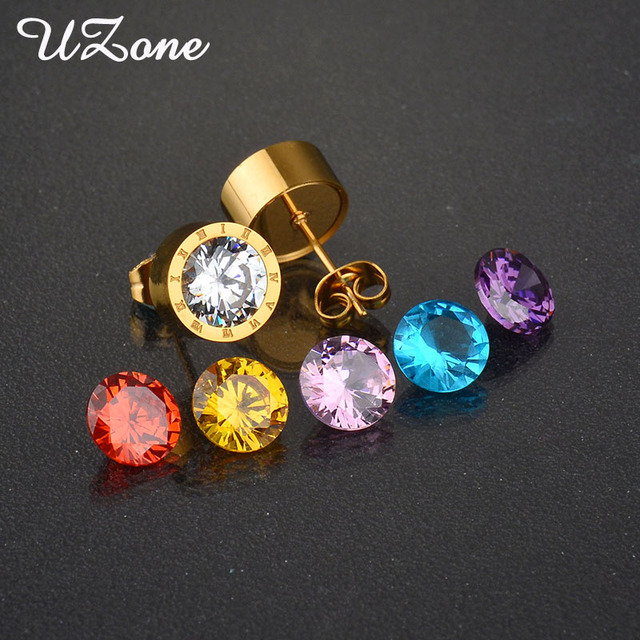 Uzone Stainless Steel Diy Jewelry 7 Colors Cz Stone Famous Brand Interchangeable Earrings For Wedding