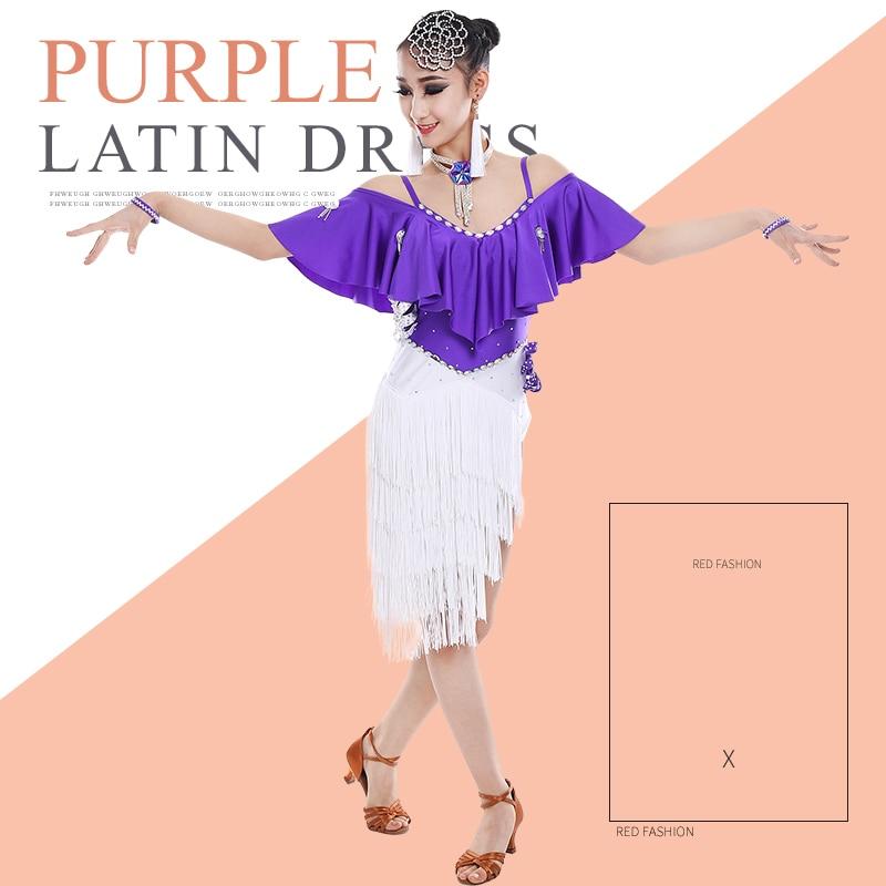 New Latin Dance Kids Dresses For Girls Fringe Dress Flamengo Tango Salsa Dress Ballroom Competitive White Latin Skirt BL1321