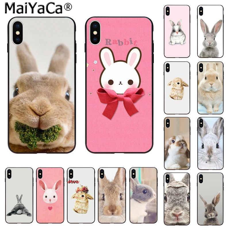 MaiYaCa Cute animal rabbit TPU black Phone Case Cover Shell for iphone 11 pro X XS MAX  66S 7 7plus 8 8Plus 5S SE XR