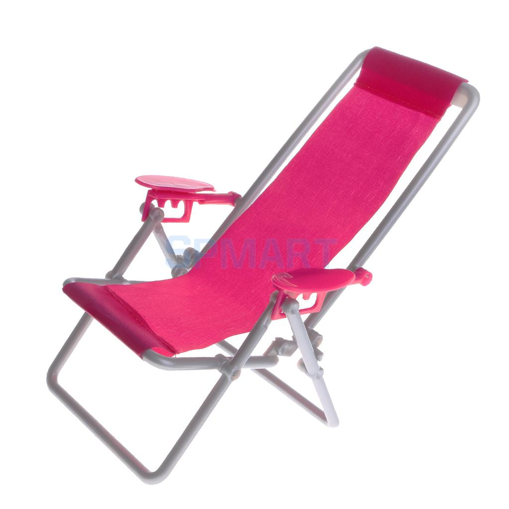 Dollhouse Miniature Beach Deck Chair Rosy for 1:6 Doll Kids Pretend Play Toy