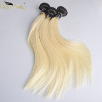 Ross Pretty Remy Peruvian Hair Bundle Ombre Color 1b 613 Straight Hair Weave 10inch to 30inch 100% Human Hair Bundles 1b/blonde