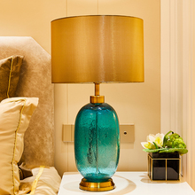 Green Glass Stone Table Lamps For Living Room Luxurious Crystal Dimming Lighting Bedroom Vase