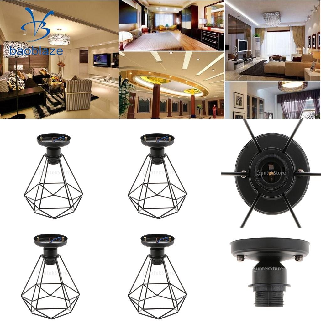 4 Set Vintage Iron Diamond Pendant Ceiling Top Light Cage Lamp Shade Holder 110 220V