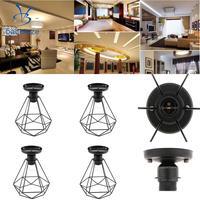 4 Set Vintage Iron Diamond Pendant Ceiling Top Light Cage Lamp Shade Holder 110 220V