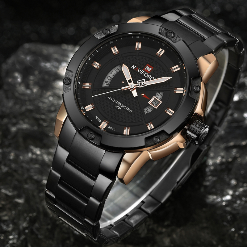 Mens Watches Top Luxury Brand NAVIFORCE Men Full Steel Watches Quartz Watch Analog Waterproof Sports Army Military WristWatch 1
