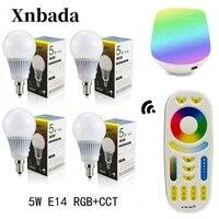 Mi Light 5W Led Lamp RGB+CCT E14 Led bulb+RGBWW Remote+IBX1 RF Remote Wifi Led Spotlight light Led light AC85 265V Free shipping