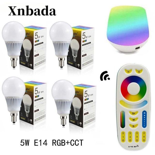 Mi lumière 5 W lampe à Led RGB + CCT E14 Led ampoule + RGBWW télécommande + IBX1 RF télécommande wifi Led spot éclairage Led AC85-265V livraison gratuite