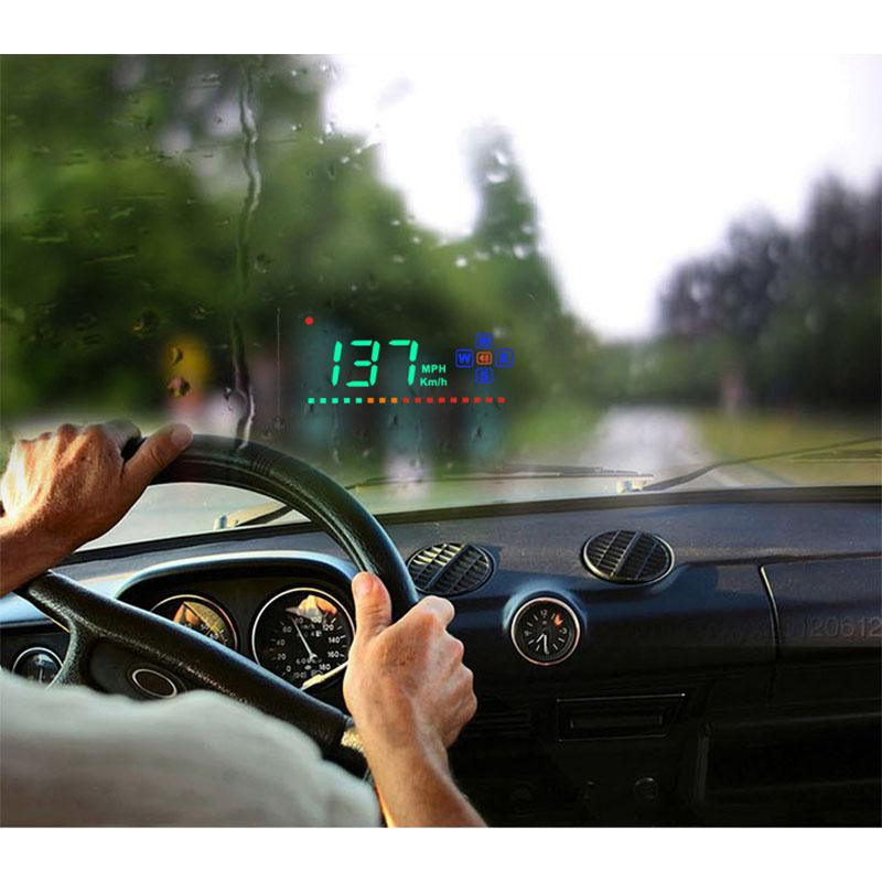 Car HUD Head Up Display GPS Digital HD Projection Display Universal Truck Speedometer Speed Warning Satellite Atomic Clock