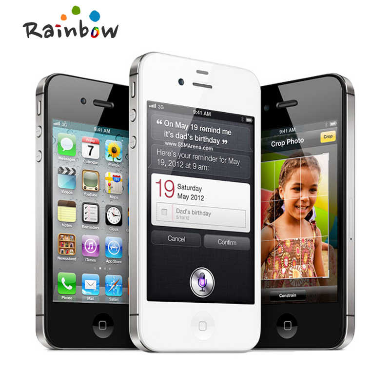 "Orijinal Apple iPhone 4S 16GB 3G WIFI GPS 8MP 1080P 3.5 ""IPS 960x640px dokunmatik ekran Unlocked cep telefonu"